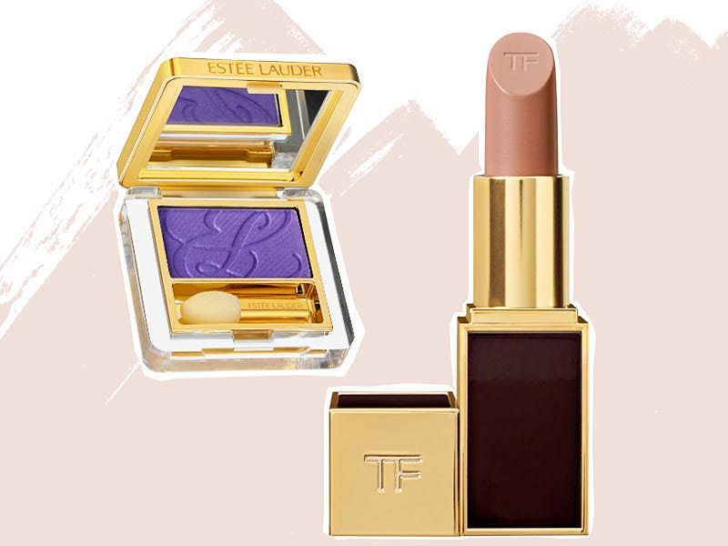Помада Lip Color in Sable Smoke, Tom Ford; тени Pure Color Eyeshadow in Purple Passion, Estée Lauder