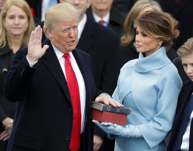 Donald and Melania Trump at the inauguration