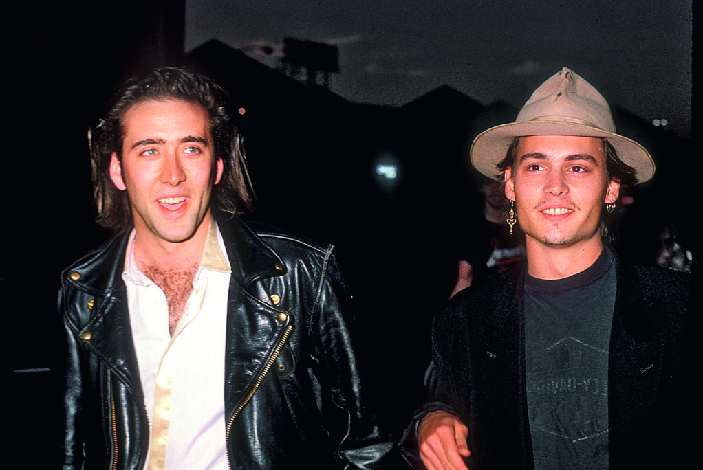 With actor Nicolas Cage, 1989