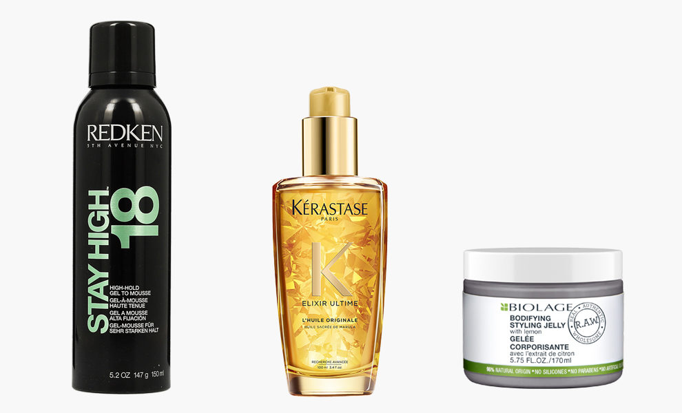 Redken, Holding Gel to Mousse Stay High 18, 1400 рублей, redken.ru; Kérastase, Elixir Ultime Oil, 3290 рублей, kerastase.ru; Matrix Biolage R.A.W., Bodifying Styling Jelly, 1313 рублей, parfumstore.ru