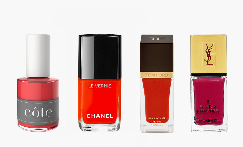Cote, Nail Polish, No.25, $18, coteshop.co; Chanel, Le Vernis Longwear Nail Colour, Espadrilles, 1399 рублей, shop.rivegauche.ru; Tom Ford, Nail Lacquer, Scarlet Chinois, 2590 рублей, tsum.ru; Yves Saint Laurent, La Laque Couture Nail Polish, Fuschia Intemporel, $28, yslbeautyus.com
