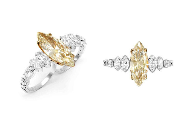 Two-fingered rings in fancy yellow and white diamonds
