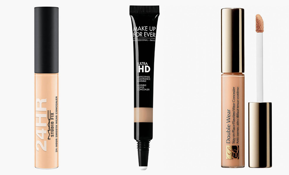 M.A.C, 24hour Studio Fix Concealer, 1650 рублей, mac-cosmetics.ru; Make Up For Ever, Ultra HD Concealer, 2125 рублей, shop.rivegauche.ru; Estée Lauder, Double Wear, 2700 рублей, tsum.ru