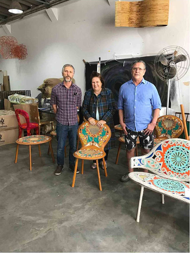 Suzy in the Campana studio with Humberto Campana, left, and his brother Fernando, with the