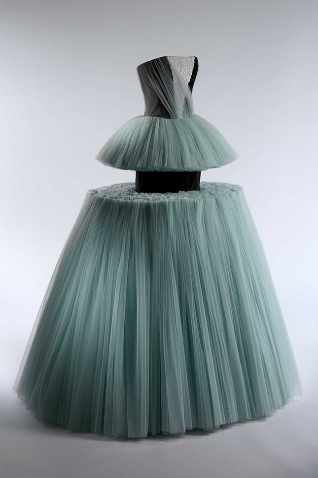 Ball gown by Viktor & Rolf, Spring/Summer 2010 (Viktor Horsting and Rolf Snoeren, both Dutch, both born 1969). Made from blue polyester tulle and black silk-synthetic moiré embroidered with white plastic sequins. Purchase, Friends of The Costume Institute Gifts, 2011