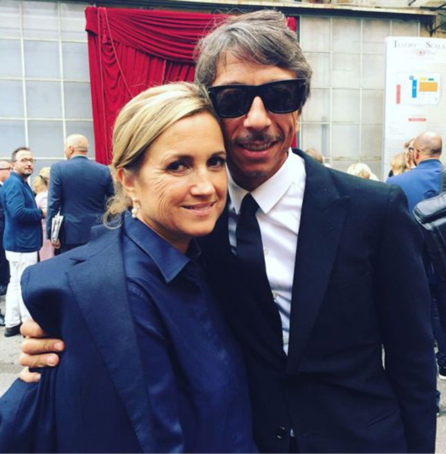 Silvia Venturini Fendi and Pierpaolo Piccioli of Valentino at the official opening of Milan Fashion Week