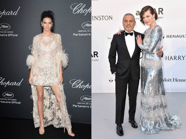 Saab is the stylist's go-to choice for many glittering weddings, Royal gowns and red-carpet events. Left, Kendall Jenner wears a feathery Elie Saab Spring 2015 Couture dress (left) and Milla Jovovich (right, with Saab) in a silvered pre-Fall 2016 gown