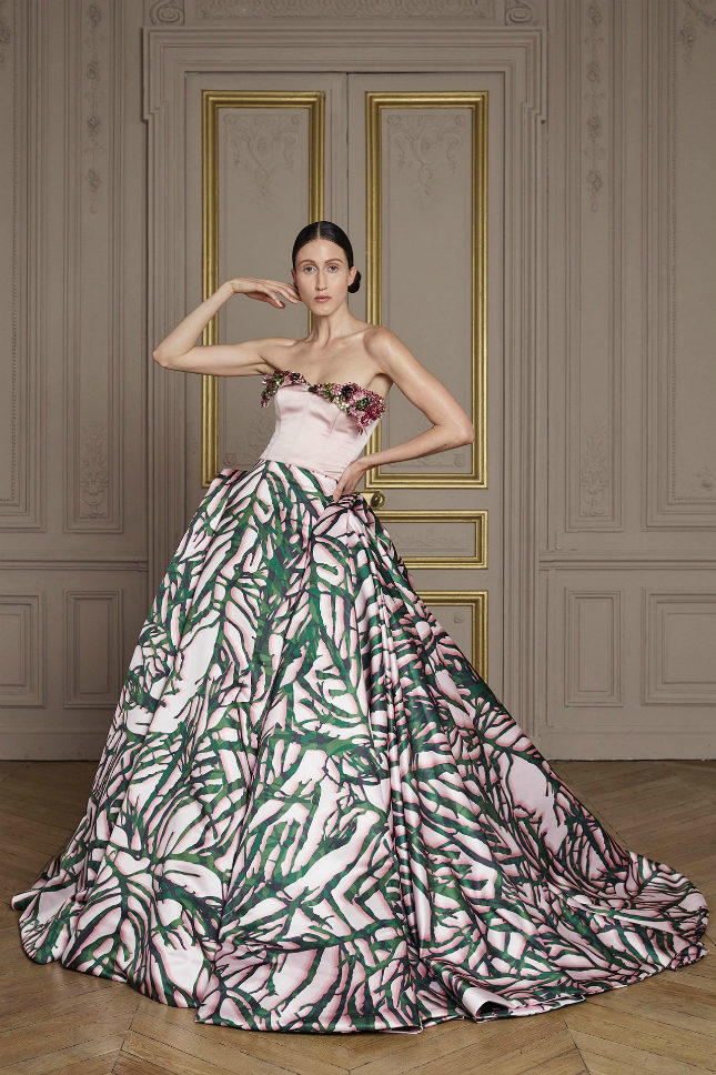 Printed silk Duchess draped gown with embroidered silk Duchess corset. Giles Deacon created the print himself