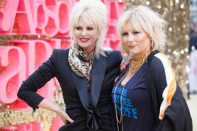 Joanna Lumley and Jennifer Saunders on the red carpet at the London Ab Fab premiere