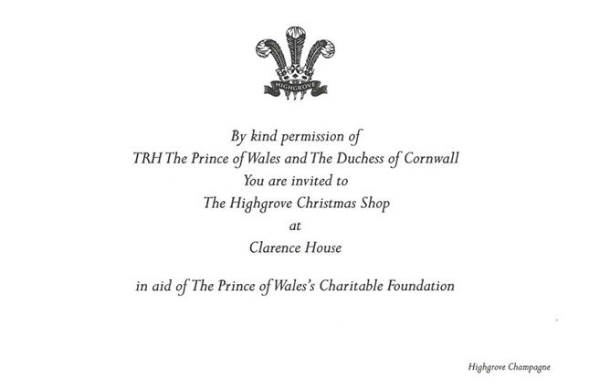 Suzy's invitation to Prince Charles' Highgrove Collection shopping event at Clarence House