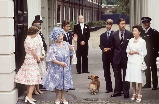 Clarence House, the current London residence of Prince Charles and Camilla, was previously the Queen Mother's home. Here she celebrates her birthday with her pet corgi and her family (from left, the Queen, Prince Edward, Prince Charles and Princess Margaret). Corgis have long been a Royal Family favourite, and appear as a design motif in the Highgrove Christmas Collection.