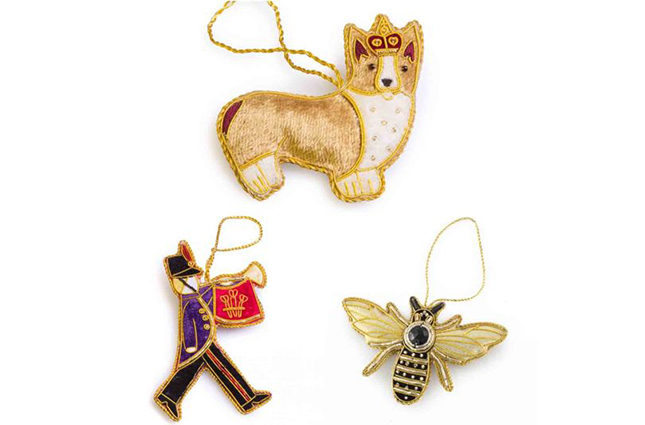 Christmas decorations, including this corgi (the Queen's favourite breed of dog), bee and marching trumpeter, feature in the Highgrove Christmas Collection (from £9.95)