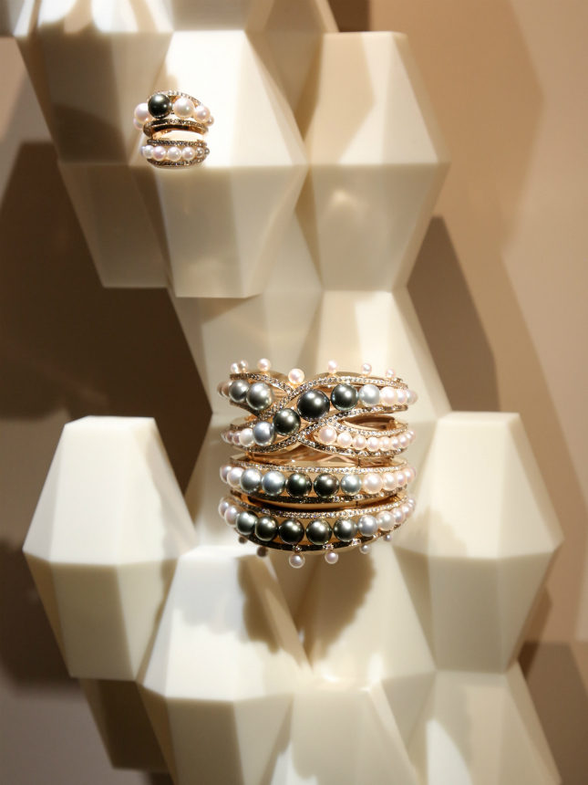 A tiered pearl cuff and matching ring for Hermès Haute Joiallerie Spring/Summer 2017
