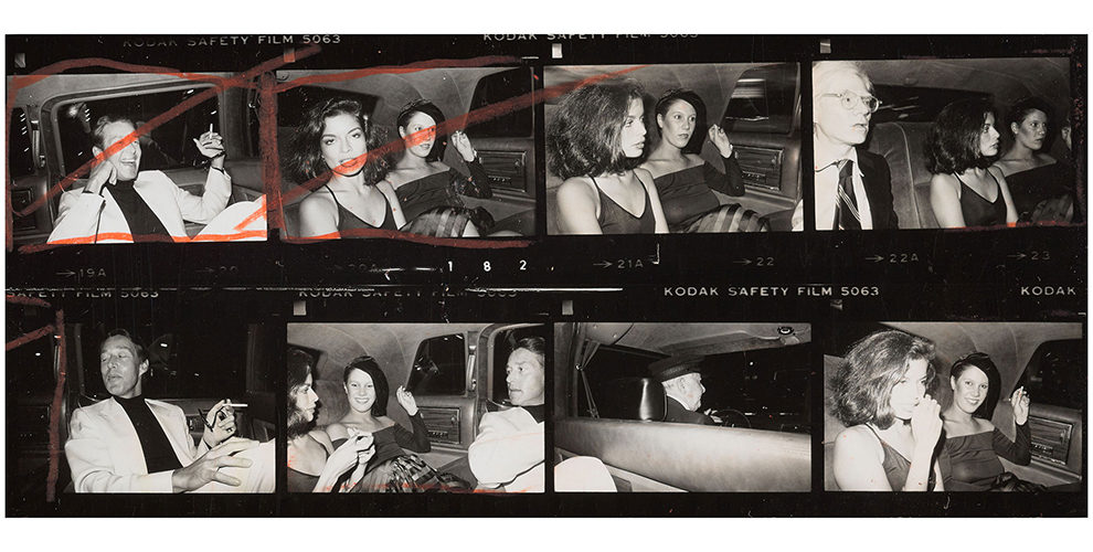 Detail from Contact Sheet (Andy Warhol, Bianca Jagger, Halston, Diane de Beauvau, Bethann Hardison in the back of a limousine), 1976, The Andy Warhol Foundation