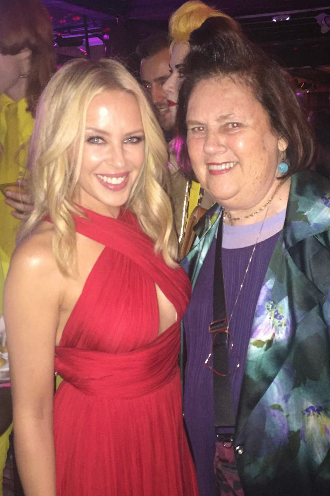 Suzy at the after-party for the Ab Fab London premiere with Kylie Minogue, who sings the movie's theme song,