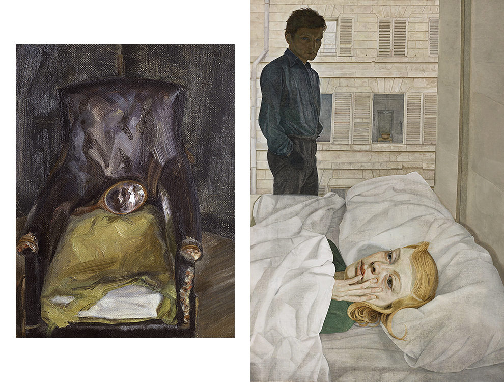 Люсьен Фрейд. Hand Mirror on Chair (1966), Hotel Bedroom (1954)
