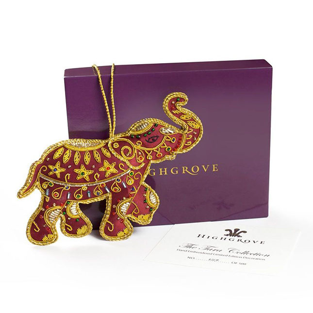 The Tara Collection is a new addition to the Highgrove Christmas Collection this year, including this jewelled elephant Christmas tree decoration inspired by a topiary elephant that sits in Highgrove's back garden, given to HRH The Prince of Wales to commemorate the Duchess of Cornwall's late brother, Mark Shand (£19.95)