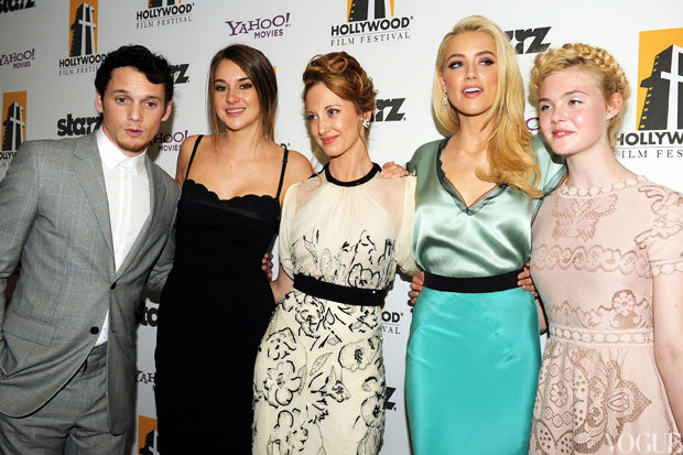 Anton Yelchin, Shailene Woodley, Andrea Riseborough, Amber Heard, and Elle Fanning.jpg