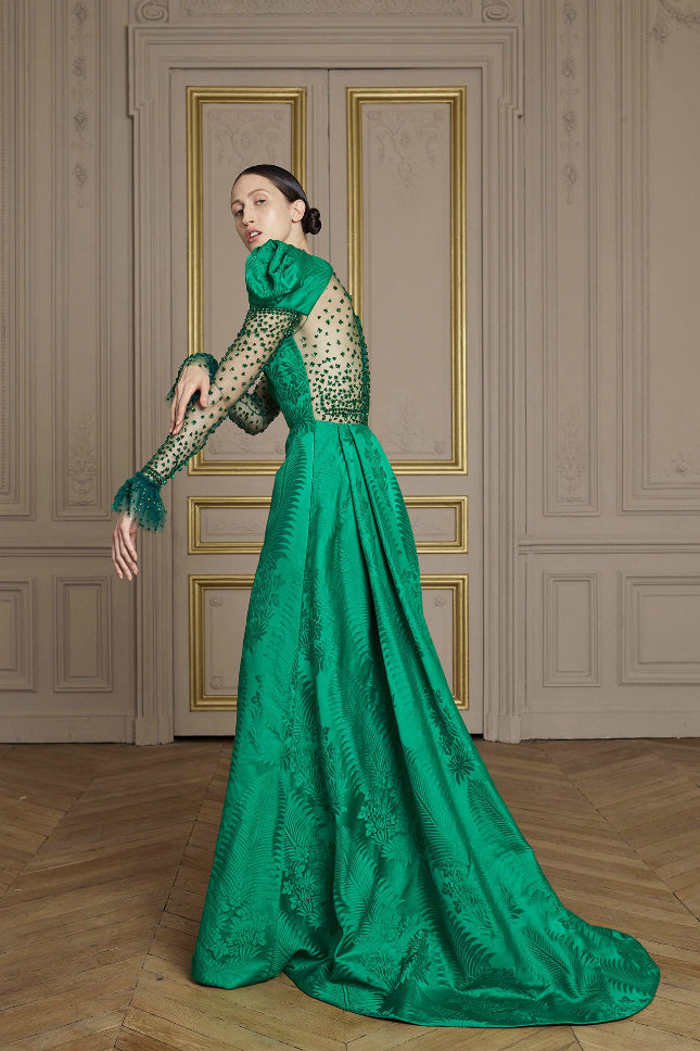 Emerald jacquard dress with Swarovski crystal-embroidered panelling