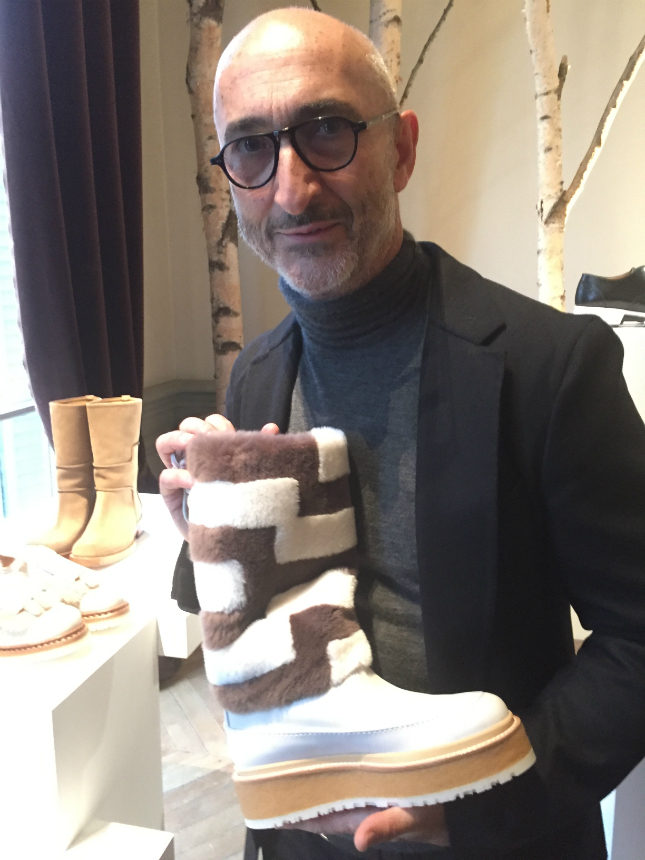 Pierre Hardy with a leather, suede and shearling boot from his Spring/Summer 2016-17 collection
