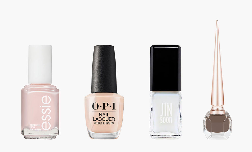 Essie, Nail Polish, Ballet Slippers, 425 рублей, shop.rivegauche.ru; OPI, Nail Lacquer, Samoan Sand, $10, amazon.com; Jinsoon, Sheer Gloss, Dew, $18, jinsoon.com; Christian Louboutin, Nail Colour The Nudes, Zoulou, 2640 рублей, harrods.com