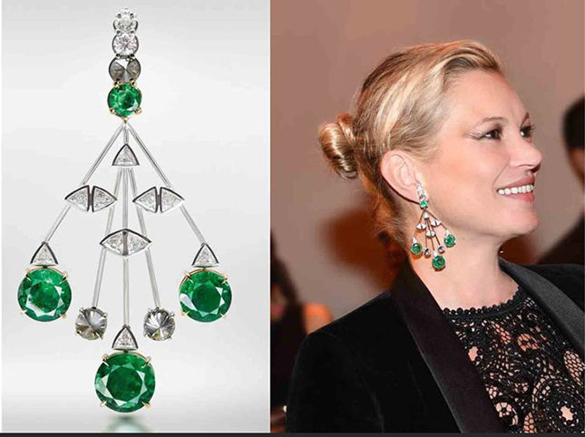 Kate Moss wore the 18-carat white-gold, emerald and smoky and white diamond