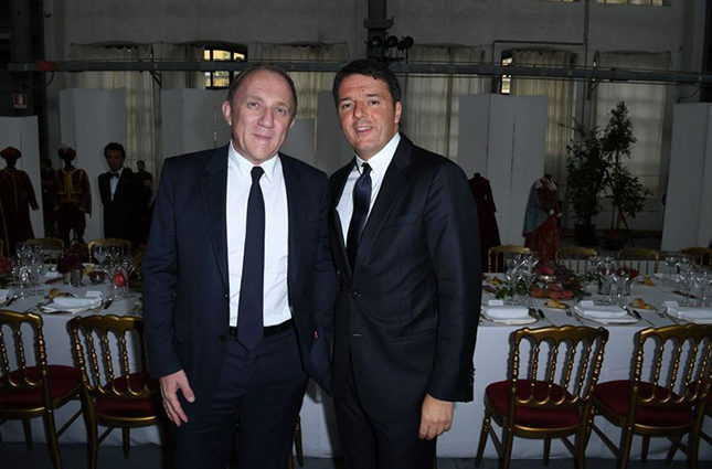 From left, François-Henri Pinault, CEO of Kering, with the Italian Prime Minister, Matteo Renzi