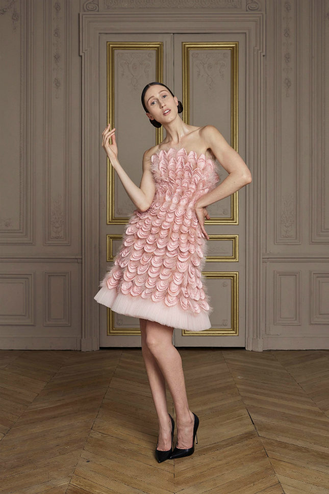 Pale pink silk layered petal and feather embroidered corset dress with pearl ornamentation