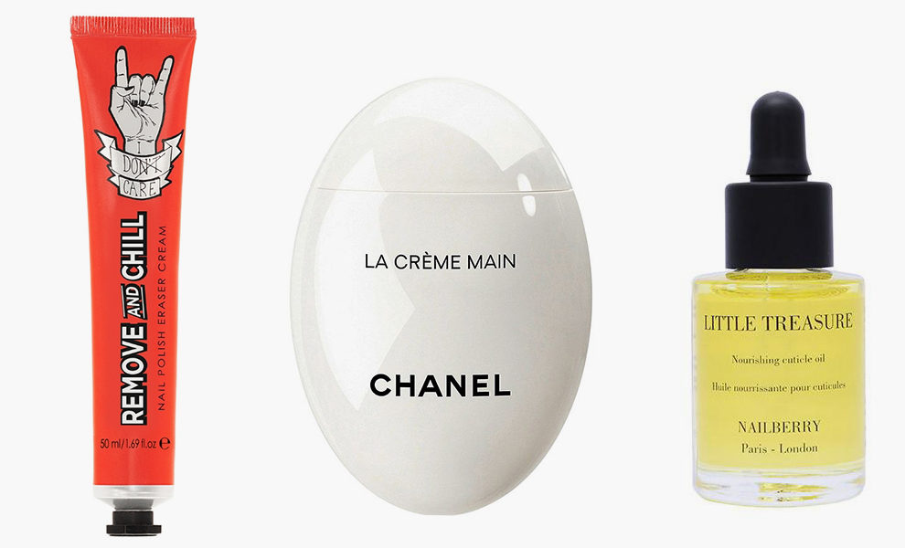 The Sign Tribe, Remove and Chill, £14.25, thisisbeautymart.com; Chanel, Le Crème Main, 3900 рублей, бьюти-бутики Chanel; Little Treasure, Nourishing Cuticle Oil, £17.00, nailberry.co.uk