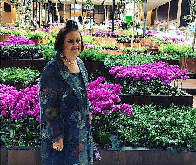 Suzy inside the lush tropics of São Paolo's Iguatemi luxury shopping mall, which celebrates its 50th anniversary this year