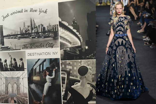The moodboard that inspired this collection - Art Deco motifs from the Chrysler Building in New York featured in many looks