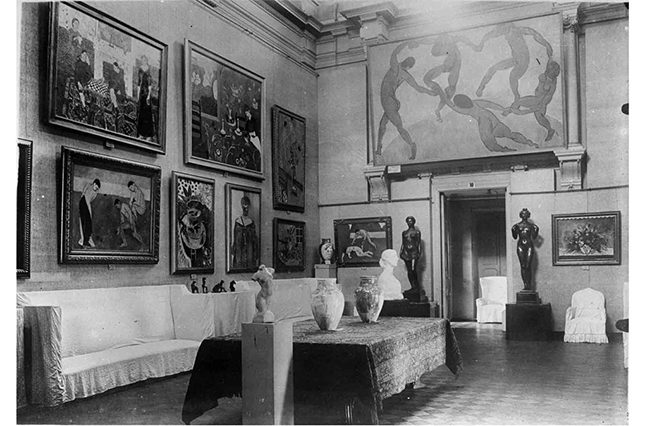 A vintage photograph of the interior of Shchukin's mansion in Moscow, showing a fraction of his enormous collection after the building and its contents were seized by the Soviet authorities after the 1917 Russian Revolution