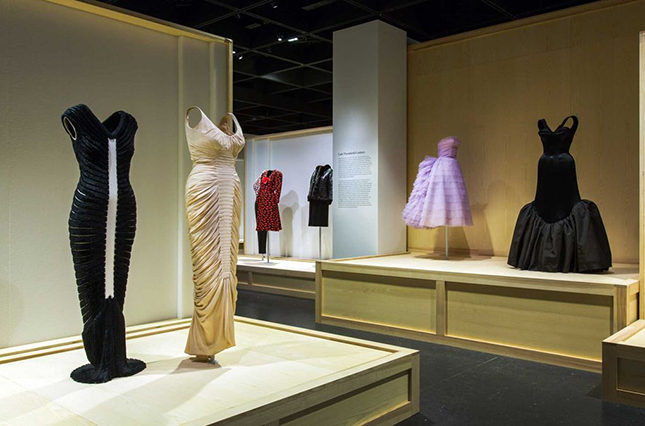 View of the Early 20th-Century Gallery, which includes these gowns by Azzedine Alaïa (left) and Charles James