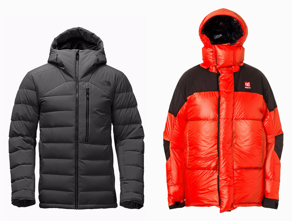 Пуховик The Noth Face, $349, thenorthface.com. Пуховик 66 north, €700, 66north.com