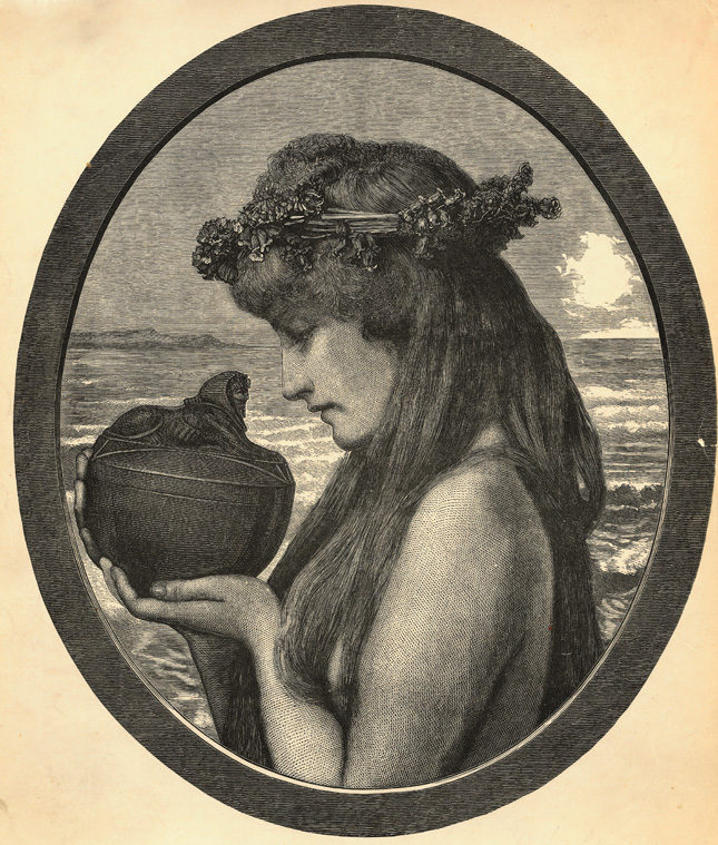 Pandora, standing by the sea, about to open her box. H. Linton