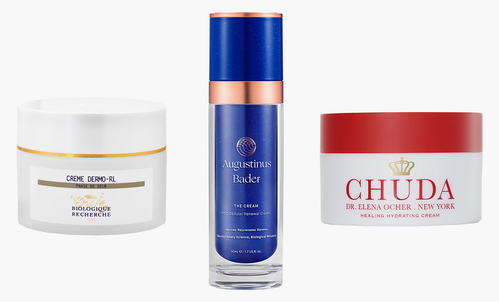 Biologique Recherche Dermo RL, 185$; Augustinus Bader, The Rich Cream, 265$; Chuda, Healing Hydrating Cream, 150$;