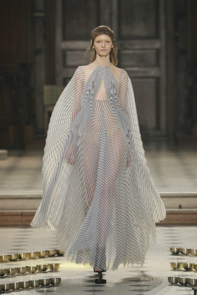H and-plisséed and line-printed Japanese organza (woven from threads five times thinner than human hair)  create unique
