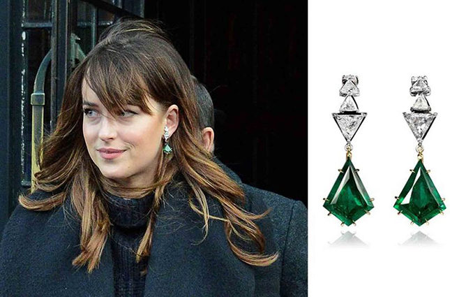 Dakota Johnson wearing Ara Vartanian's white diamond and emerald hook earrings set in yellow and white gold