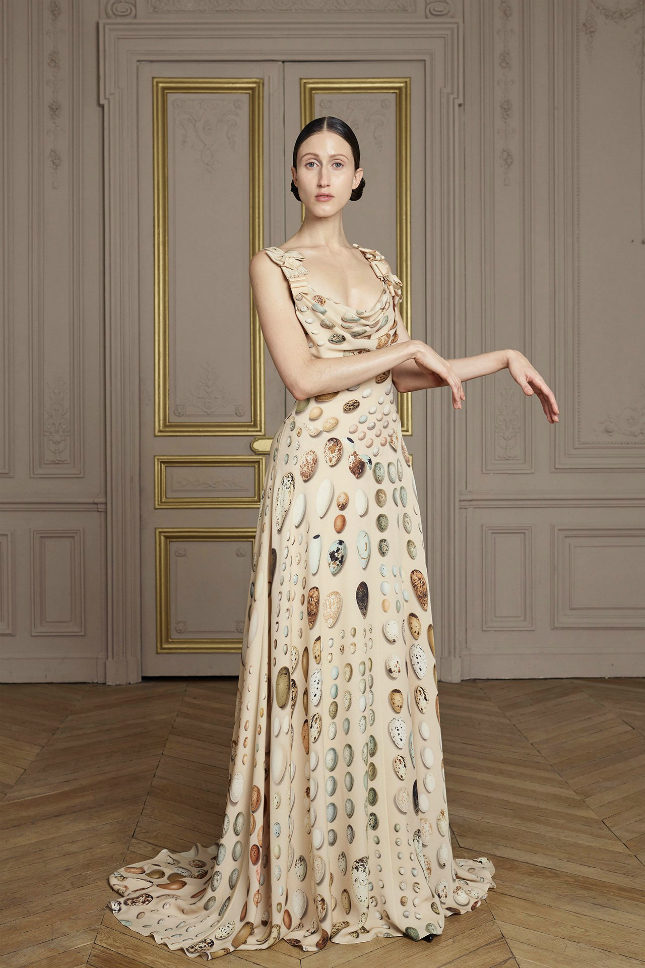 Silk georgette printed Fabergé imperial gown