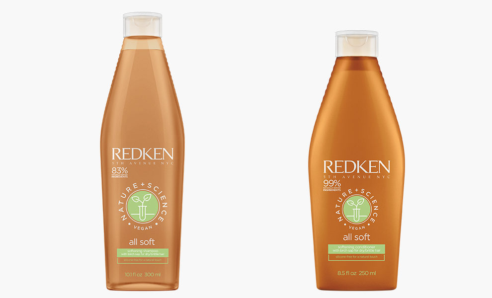 Redken, Nature + Science All Soft Shampoo, 1313 рублей, redken.ru; Nature + Science All Soft Conditioner, 1650 рублей, redken.ru