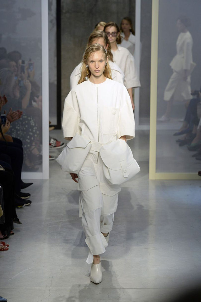 Marni S/S 2017 finale and the final collection for designer Consuelo Castiglioni. Do the panniers indicate baggage?