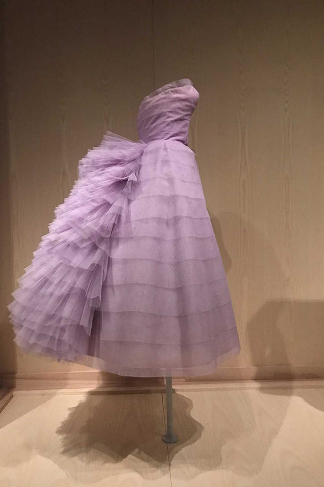 Evening dress (1956) in light purple nylon tulle, by Antonio del Castillo (Spanish, 1908-1984) for Lanvin-Castillo (French, active 1950-62).