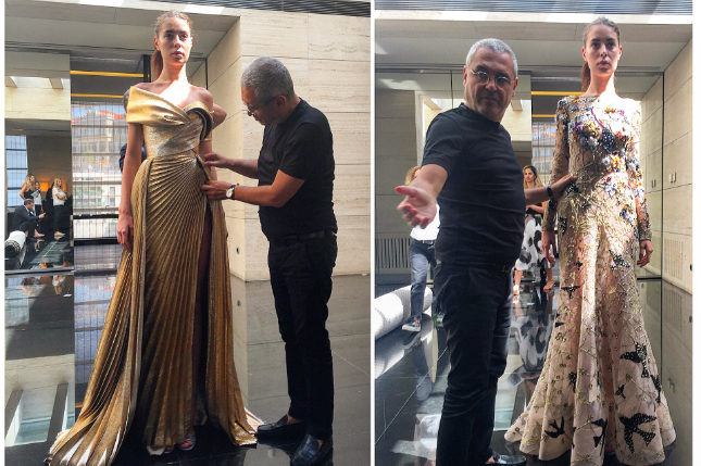 Elie Saab in his Beirut atelier, at work on two evening gowns for Paris Couture Week