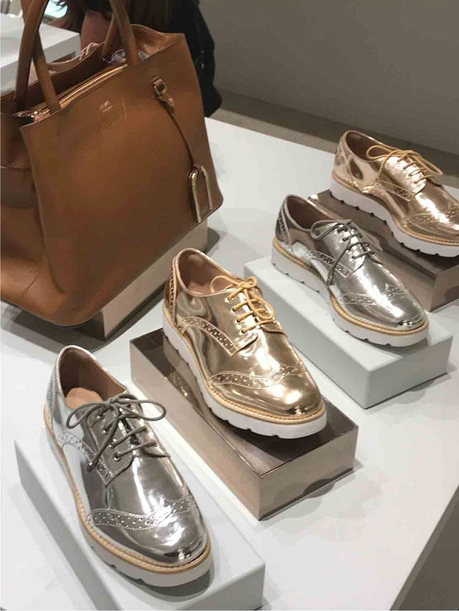 Arezzo metallic brogues with punched-leather embellishement. The metallic line also comes with plain uppers (below)