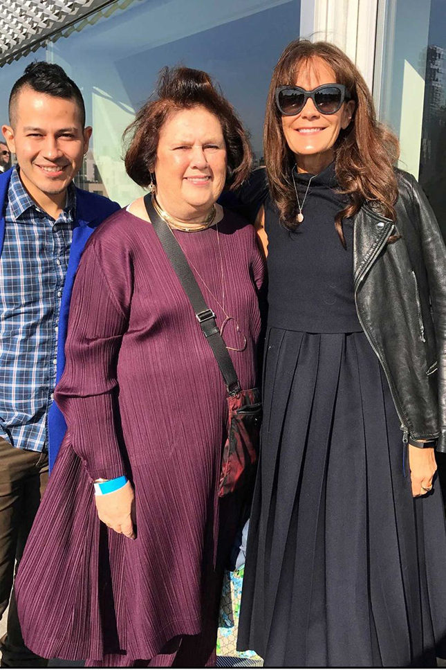 Suzy with Rio Uribe, founder of Gypsy Sport (left) and Julie Gilhart, fashion consultant and green activist