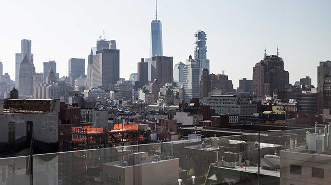 A view from the rooftop of the New Museum in the Bowery, New York, where the Polimoda seminar on