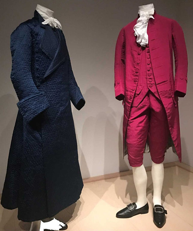 Left: Gentleman's robe in blue diamond-quilted silk satin by Banyan (British tailor), circa 1760-70