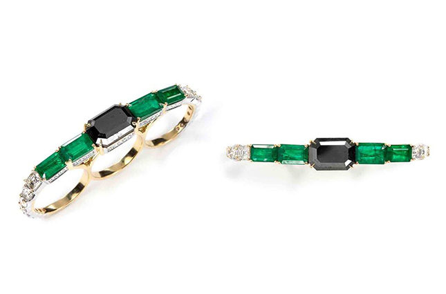 Knuckle-dusters made with emeralds, and white and black diamonds