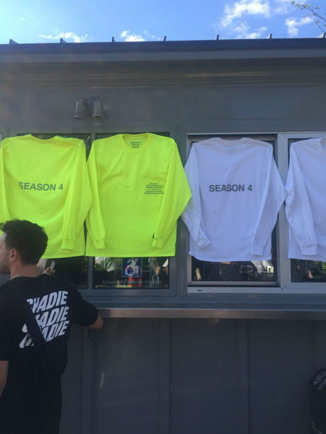 At Kanye West's Yeezy 4 show, souvenir merchandise was on sale to guests
