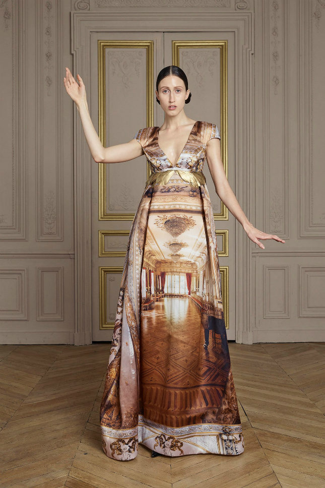 Silk-satin gazar printed gown with hand-painted gold feather embroideries
